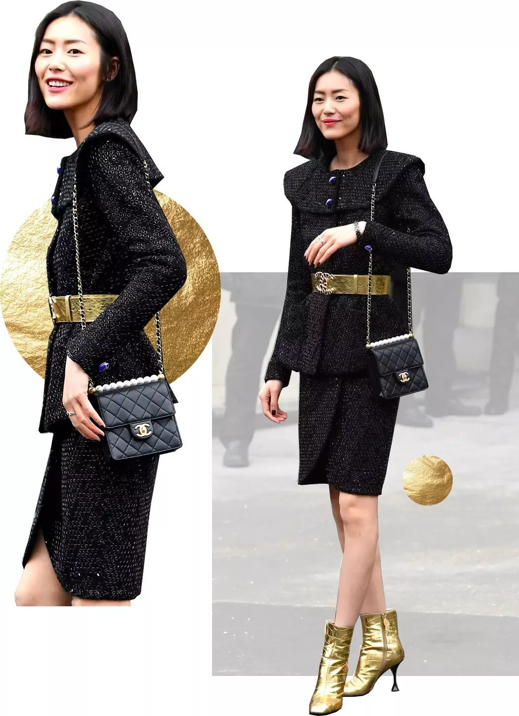 Chanel Pearl bag and Liu Wen